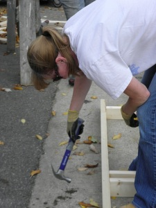 Building walls at Habitat for Humanity Restore